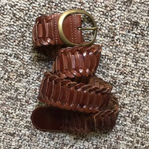 Brown Leather woven belt size small
